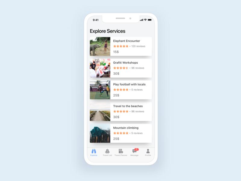 Explore services vietnam layout ios flat application app mobile ux ui design explore services