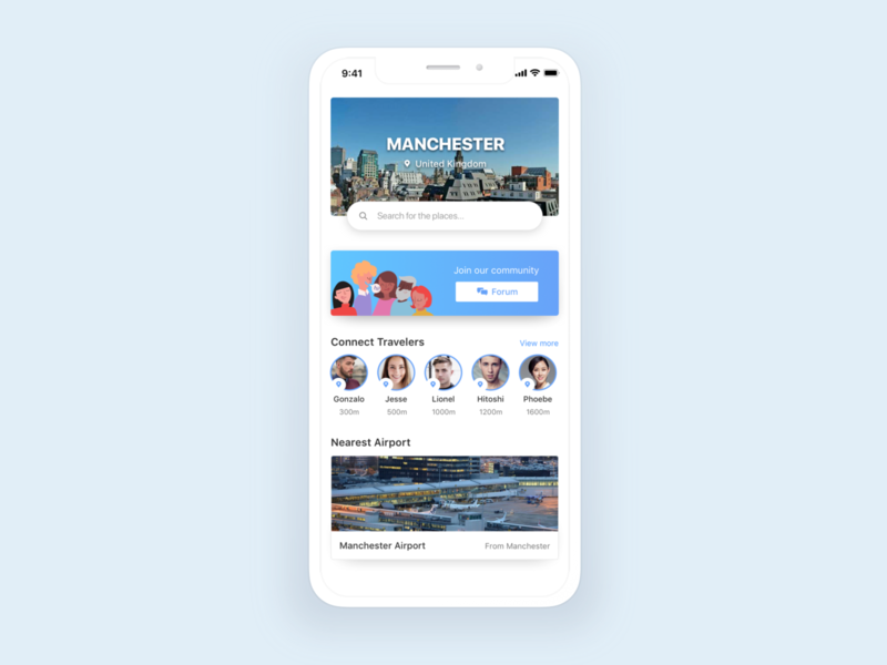 Travel App main screen flat ios mobile vietnam design layout ux ui app travel