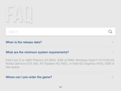 Daily UI #092 - F.A.Q. pre-order questions search 092 ui ux faq dailyui