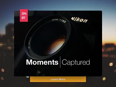 Daily UI #098 - Advertisement landing splash screen button discount nikon camera ux ui advertisement 098 dailyui