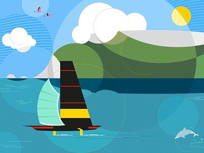 Luna storta (adverse moon) disposable mask covid-19 covid19 regatta sailing sail clouds dolphin flamingos sea sardinia design illustration