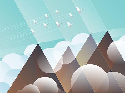 existential geometries: migration (2020) landscape geometric design geometric art digital illustration mountains clouds goose digitalart illustration