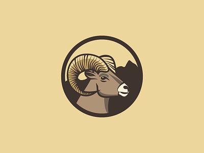 Goat ram horn logo mountains goat