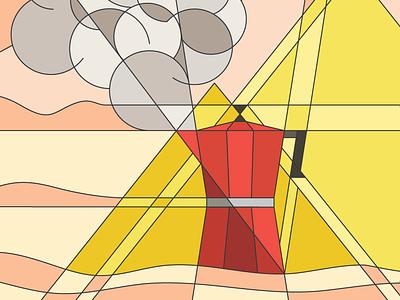 Coffee In Giza smoke pyramid moka coffee geometric art illustration