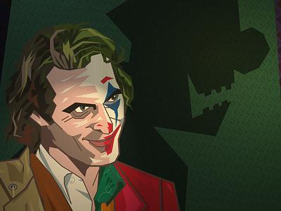 joker crime clown patterns joaquin phoenix joker vector portrait illustration