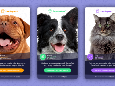 Pet Adoption Concept app splash landing personality cats dogs adoption pet