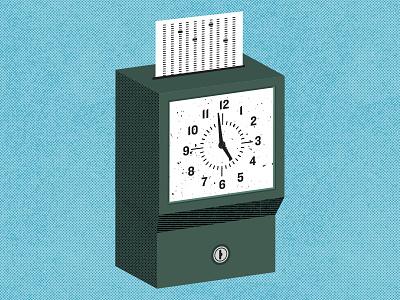 Punch Me work office time vintage clock illustration