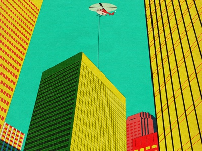 Get to the chopper helicopters buildings vintage illustration