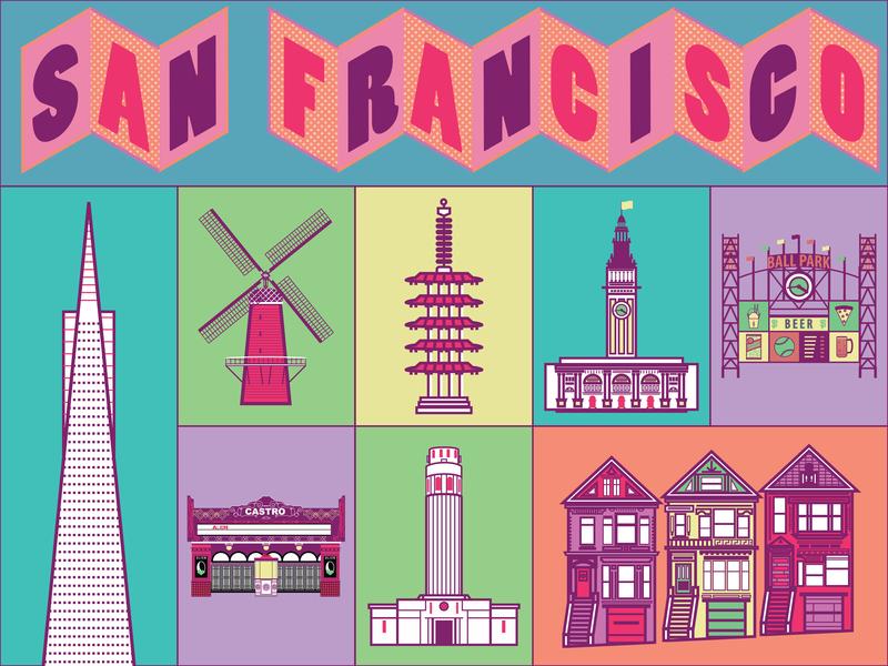 San Francisco san francisco icons lettering illustration