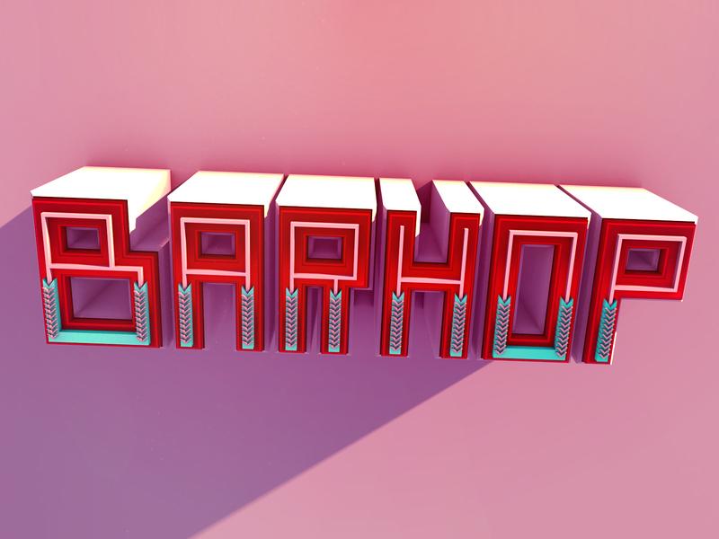 Barhop logo design lettering illustration