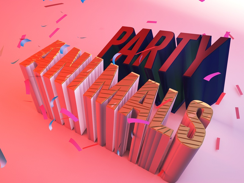 Party Animals confetti party 3d lettering illustration