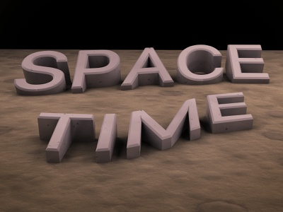 Space Time moon 3d lettering illustration