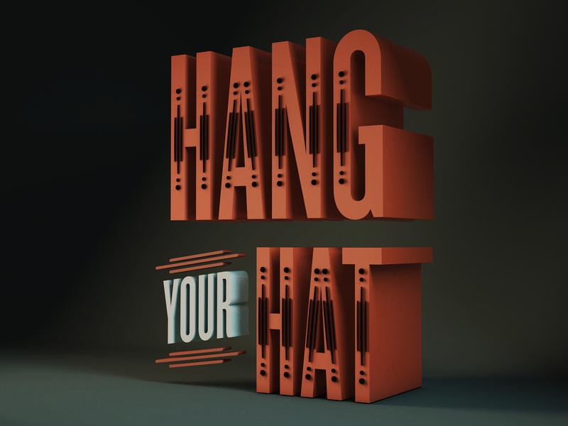 Hang Your Hat 3d vintage lettering illustration