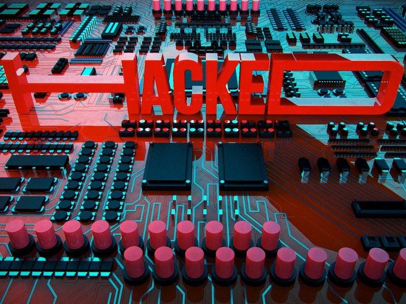 Hacked circuit board 3d lettering illustration