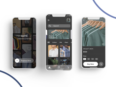 Suite - Shopping App xd figma appdesign dailyui ux productpage homepage shirtapp ecommerceapp shoppingapp wireframing prototyping iosapp iosappdesign uiux ui
