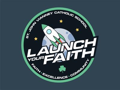 Launch Your Faith - 2018 Campaign Logo moon star trek star wars galactic space nasa rocket community excellence faith st john vianney church campaign typography ux vector branding ui illustration design