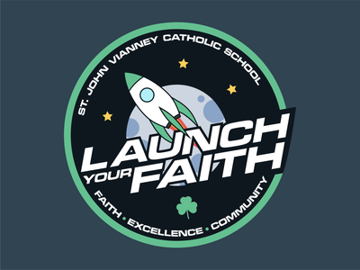 Launch Your Faith - 2018 Campaign Logo moon star trek star wars galactic space nasa rocket community excellence faith st john vianney church campaign typography ux vector branding ui illustration design