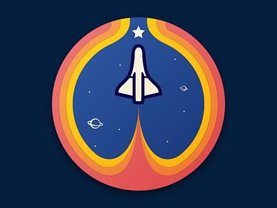 Let's Rocket! pin roundel rocket space nasa