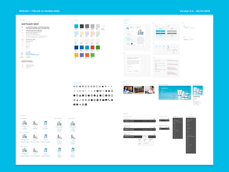 Rodan + Fields UI Guidelines guidelines style guide toolkit design system color palette brand evolution kit elements components style guide ui