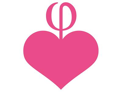 Mimesia symbol symbol pink leaf phi heart logo