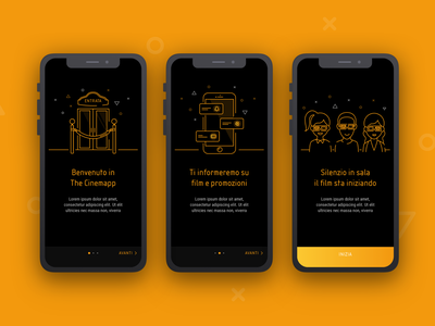 Cinema Walkthrough illustration ui  ux cinema app tutorial walkthrough cinema