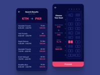 Bus Seat Booking App - Dark UI night digital uiux colors bus booking travel darkui dark iphone android app ux design ui nepal