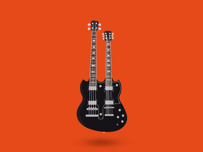 Agile Valkyrie Double Neck Guitar - Illustration rock music vector illustration guitar
