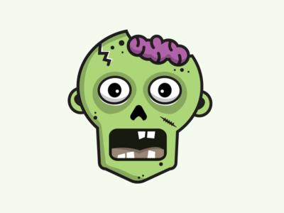 Zombie Head horror character vector skull illustration head zombie