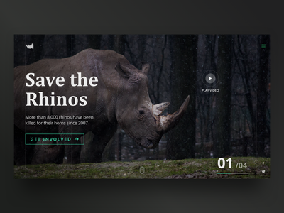 Save the Rhinos - Landing Page ui design ux darkui black landing page animal web wildlife extinct save rhino forest