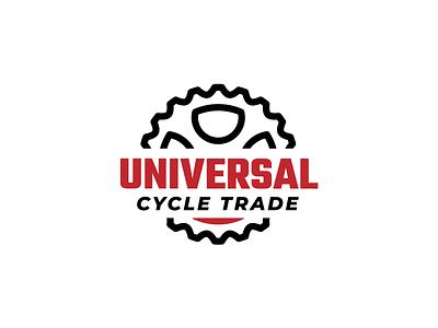 Universal Cycle Trade - Logo black red trade bicycle shop bicycle cycle design brand flat typography logo