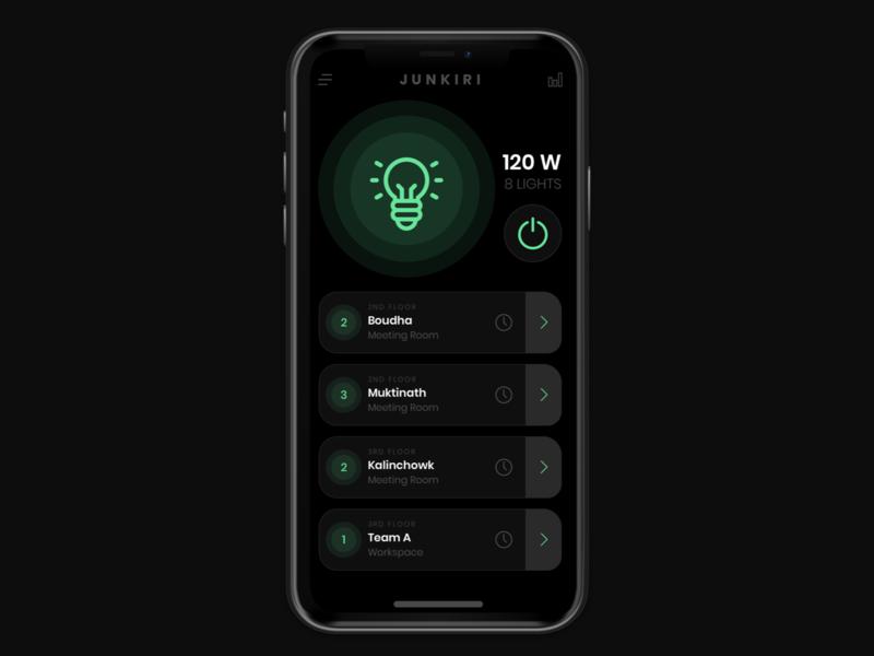 Junkiri App - Concept UI interface dark ui light control ux design darkui sketchapp app