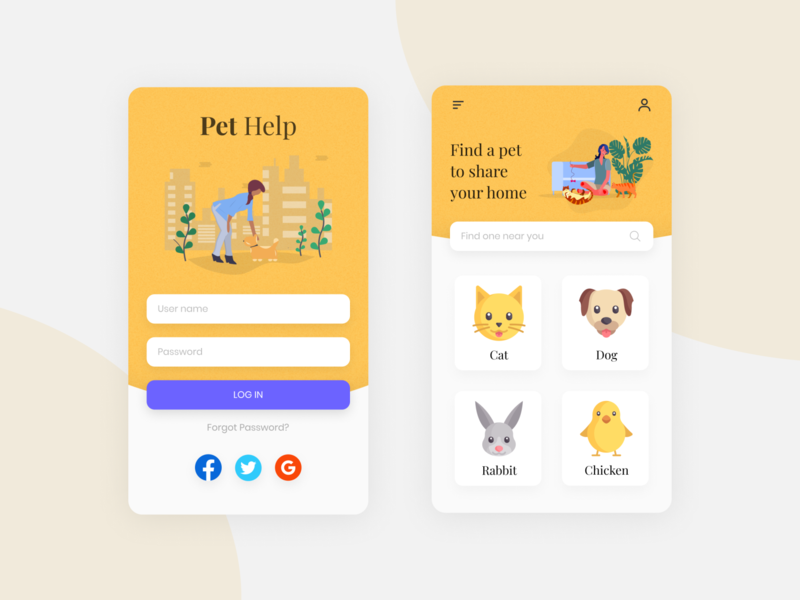 Pet Help charity app design figma animal ux ui app pets
