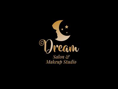 Dream Salon & Makup Studio - Logo Design logo inspiration gradient logo salon dark background logo beauty logo branding brand makeup studio logo