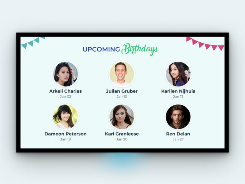 Birthday - TV App web design iot ux workplace bulletin board birthday tv app