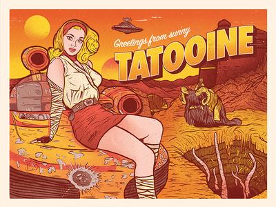 Greetings From Sunny Tatooine! pin up screen print star wars postcard print tatooine