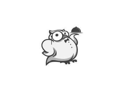 Owl barman cartoon illustration design bar restaurant forest serving mascot waiter owl