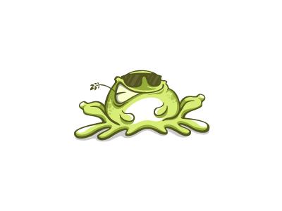 Just Chillin' logo character cartoon mascot glasses bullfrog toad frog relax chillin