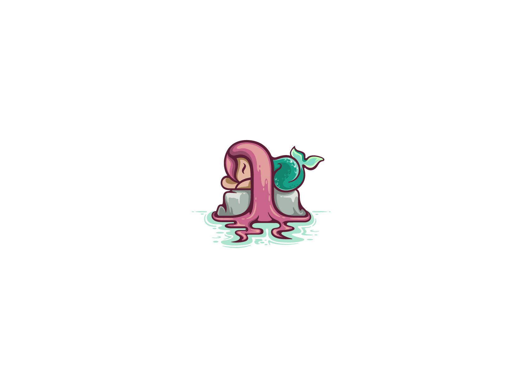 little mermaid sleeping on the rock character logo