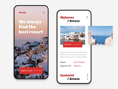 Travel Mediterranean App iphone x interaction minimalist travel agency travel app travel interface app mobile clean design concept ux ui