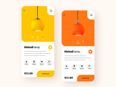 Lampshade App ux ui shopping mobile minimal light lamp ios design cards app design app