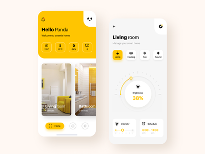 Smart Home App mobile ios app design cards yellow ux ui smart home minimal light lamp interior home clean app