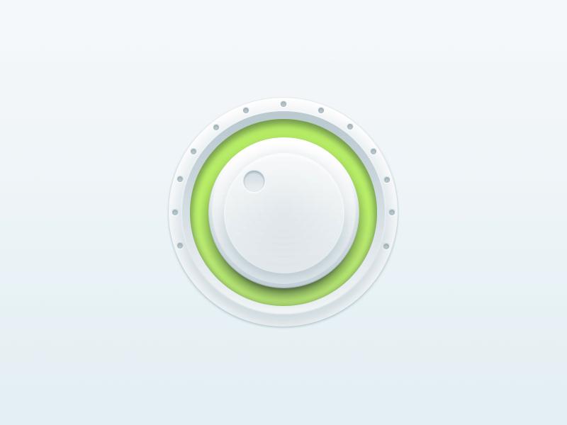 Volume knob volume round green white light pure