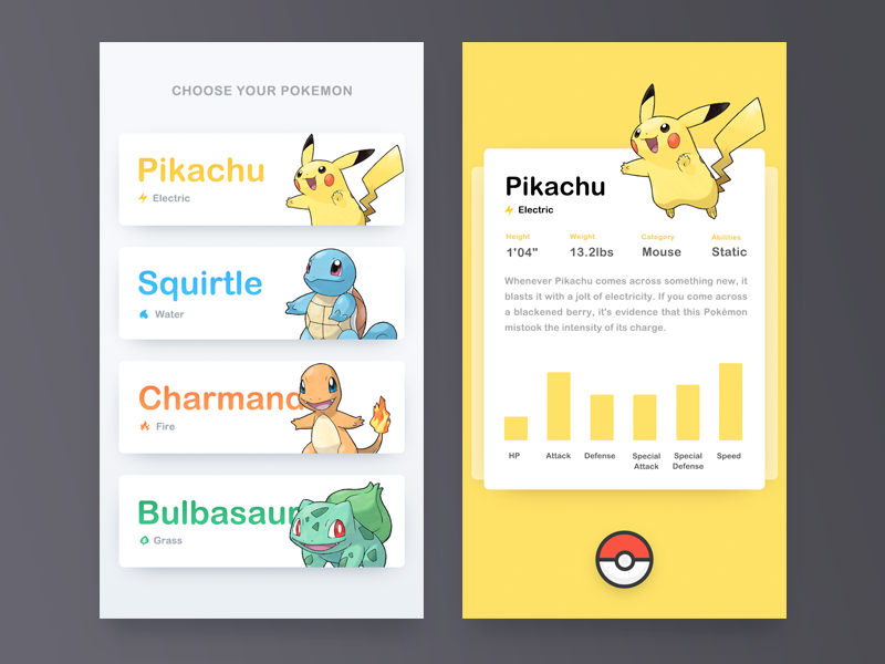 Pokemon OG detail pokemon pikachu choose select electric ui card mouse