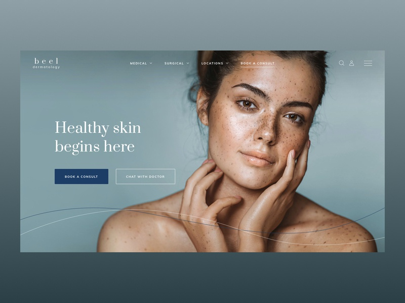 Website for Dermatology clinic website medicine clean acne icon landing page web ux ui design consultation homepage team testimonials doctor medical skincare skin healthy dermatology