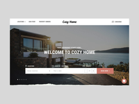 Cozy Home - Booking website product trip website calendar instagram location gallery travel amenities design web check in real estate ux ui hotel booking apartment house rent