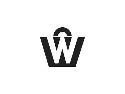 W + shopping black version mark shopping shop w identity brand lettarmark branding marketing ecomarce business