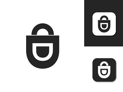 D lock design lettarmark brand identity branding letterr mark tech company business lock d logo