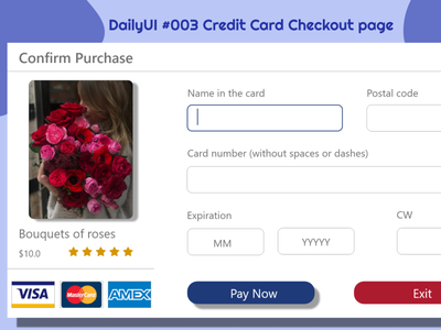 #dailyui #003 - Credit Card Checkout form or page design ux ui