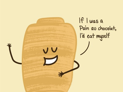 Yummy as a pain au chocolat croissant humour brown brush illustrator drawing pain au chocolat illustration
