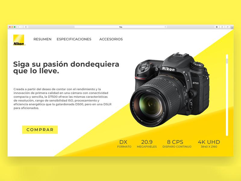Daily UI 03 yellow page design page website nikon camera dailyiu